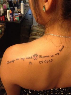 Memorial Dog Paw Tattoo On Left Back Shoulder For Girls