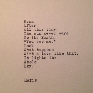 Hafiz Quote Typed on Typewriter
