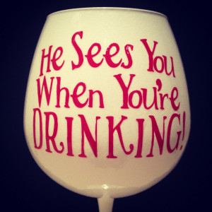 Christmas Wine Glass.