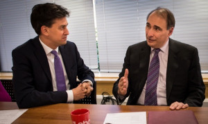 Ed Miliband with David Axelrod. Photograph: Stefan Rousseau/PA Archive ...