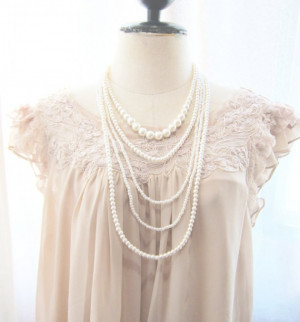 Pearl Necklace Multi Strand Stacked Layered Romantic Dreamy