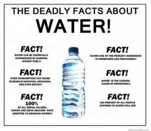 The deadly facts about water! Fact! 100 percent of all people exposed ...