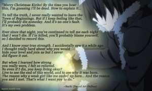 "Sword Art Online~""Merry Christmas Kirito! By the time you hear this ..."