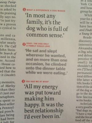 Dog quotes Time magazine, Jan 17, 2011