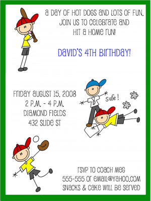 Shop our Store > Cute Baseball Kid Birthday Party Invitations