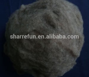 Dehaired and Carded Chinese Sheep Wool Brown Color 20.5mic/32-34mm