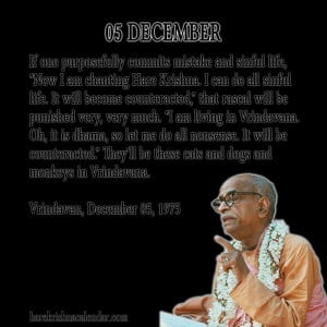 ... quotes of Srila Prabhupada, which he spock in the month of December