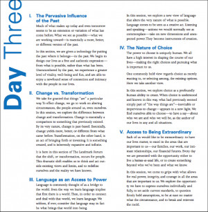 Here is the syllabus for the three day forum:
