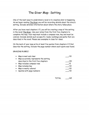 the giver book report setting