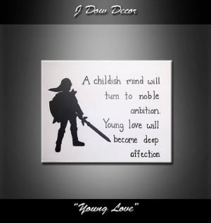 Zelda link silhouette young love quote 11x14 original acrylic painting ...
