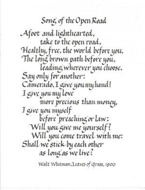 ... poems custom calligraphy walt whitman poems walt whitman open road