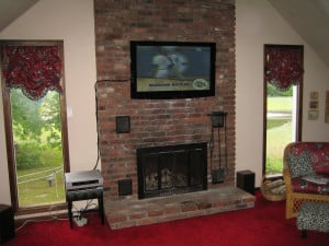 Stone Fireplace with TV above Ideas
