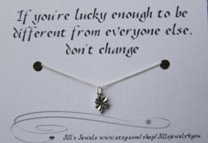 Lucky Best Friend Four Leaf Clover Charm Necklace and Friendship Quote ...