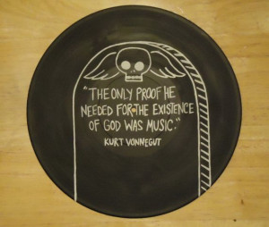 Kurt Vonnegut Quote Painted Vinyl Record by valderie on Etsy, $25.00