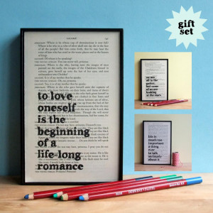 Oscar Wilde Inspirational Quote Gift Set Framed Artwork on upcycled ...