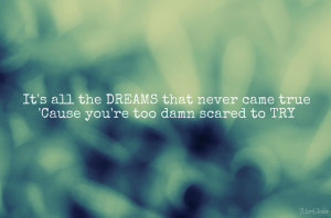 ... The Dreams That Never Came True Cause You're Too Damn Scared To Trty