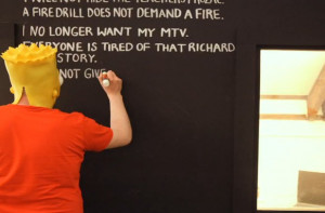 All Bart Simpson's blackboard quotes on a giant blackboard