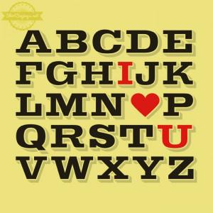 ABC I Love you shirt saying black alphabet typography with I heart ...