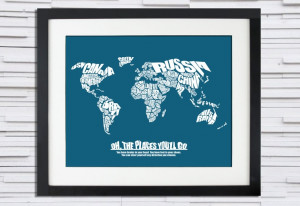 Oh The Places You'll Go - World Word Map with Dr. Seuss Quote - Baby ...