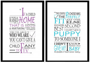 Typographical 'Adoption Quote' Posters