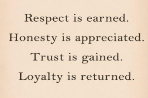 Loyalty Quote: Respect is earned. Honesty is appreciated. Trust...