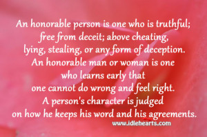 Person's Character Is Judged On How He Keeps His Word And ...