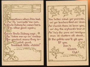Lot of 2 James Whitcomb Riley Quote Poems Art Vintage Postcards-bbb286