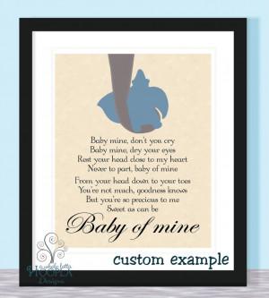Home > Products > Disney Dumbo Quote BABY OF MINE - Typographic Print ...