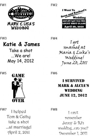 Details about 240 Custom Funny Wedding Sayings Favor Shot Glasses