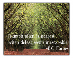 16. Triumph often is nearest when defeat seems inescapable. – B.C ...