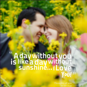 Quotes Picture: a day without you is like a day without sunshine i ...