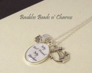 Anchor Quotes Friendship Best friends anchor necklace,