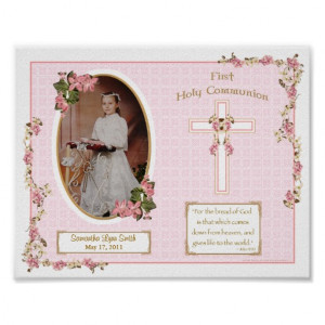Pink Cross First Holy Communion Personalised 11x14 Posters