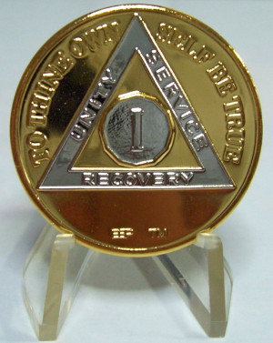 Recovery medallion for one year sober from drugs and alcohol