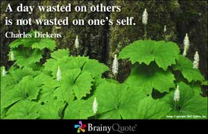 day wasted on others is not wasted on one's self.