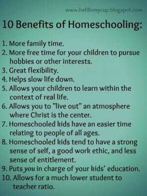 10 benefits of homeschooling