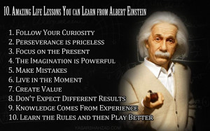 10 Inspiring Life Lessons & 5 Quotes via Albert Einstein.