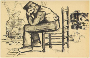 Vincent van Gogh's Peasant Sitting by the Fireplace (Worn Out) Letter ...