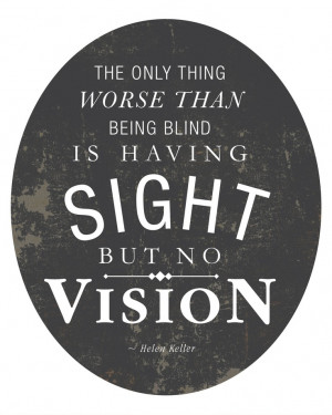 Sight But No Vision - Quote by Helen Keller 8x10 Art Print. $19.00 ...