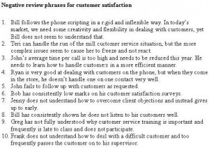 photos of Negative Employee Evaluation Phrases