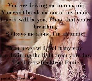 lyrics, panic, quote, taylor momsen, text, the pretty reckless