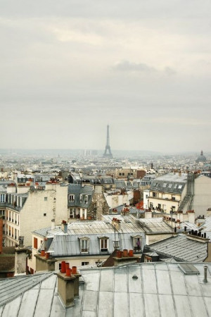 View of the Eiffel Tower over rooftops