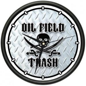 OIL FIELD TRASH Wall Clock black gold worker pump rig roughneck gag ...