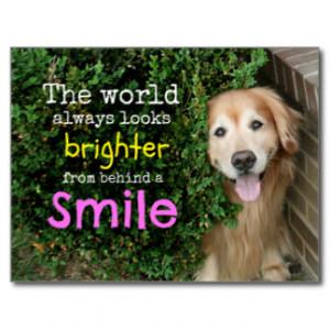 Golden Retriever Behind A Smile Postcard