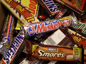 ... one go to the grocery store and buy candy bars a lot of candy bars
