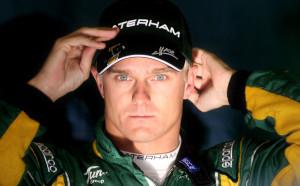 Heikki Kovalainen in the Caterham garage