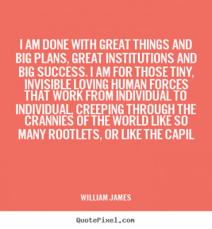 William James picture quote - I am done with great things and big ...