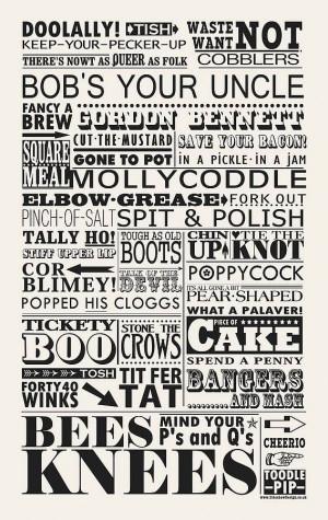 Vintage British sayings tea towel by sideshow design ...