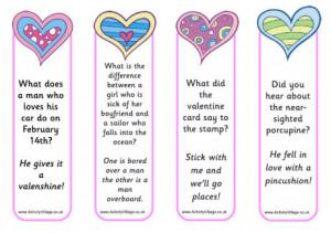Valentines bookmarks jokes