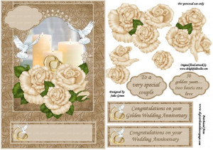 3D topper - golden wedding anniversary